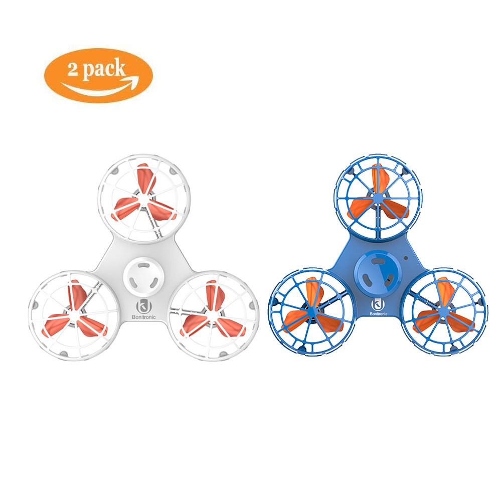 Bonitronic Flying Fidget Spinner, Anti-Anxiety ADHD Relieving Reducer Fidget Rotation Triangle Spinning Toys Funny Drone Interactive Games Kids Adults, Blue White- Pack of 2 by Bonitronic