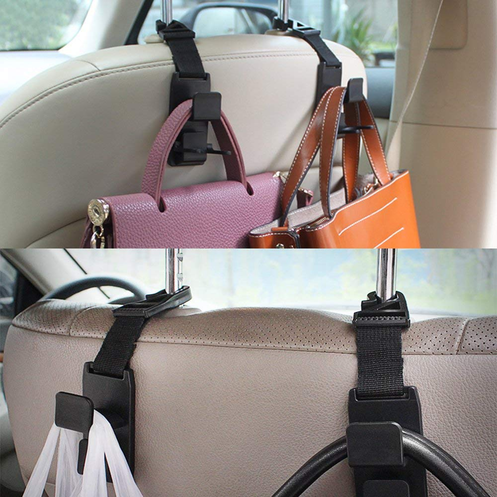 Universal Seat Back Hangers Organizers with Bonus Brush SENHAI 4 Packs Car Headrest Hooks with Duster for Car Air Vent