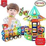 PPH3 Shine Blocks Magnetic Designer Construction Set Model & Building Toy Plastic Magnetic Blocks Educational Toys for Kids Gift (White)