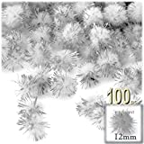 The Crafts Outlet Chenille Sparkly Pom Poms, Silver porcupine, 0.5-inch (12mm), 100-pc, White