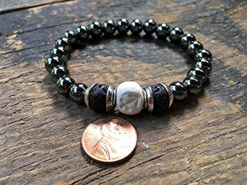 Men Sagittarius Zodiac Bracelet, Clay | Hematite | Lava Beads, Essential Oil Diffuser, Astrology Jewelry, 9MM Round