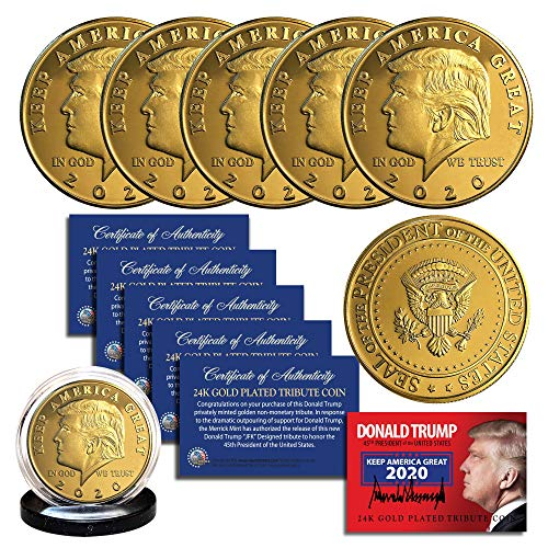 Donald Trump 2020 Keep America Great 24K Gold Clad Commerative Coin (Lot of 5) 24k Gold Coin Mint