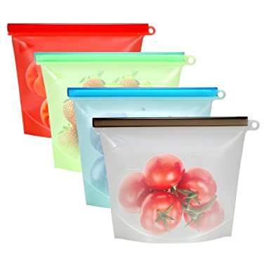 Reusable Silicone Food Storage Bag,Difenlun Airtight Zip Seal Cooking Bags-Preserving Food Fresh,Keep Food Hot or Cold,FDA Grade (4-Medium)