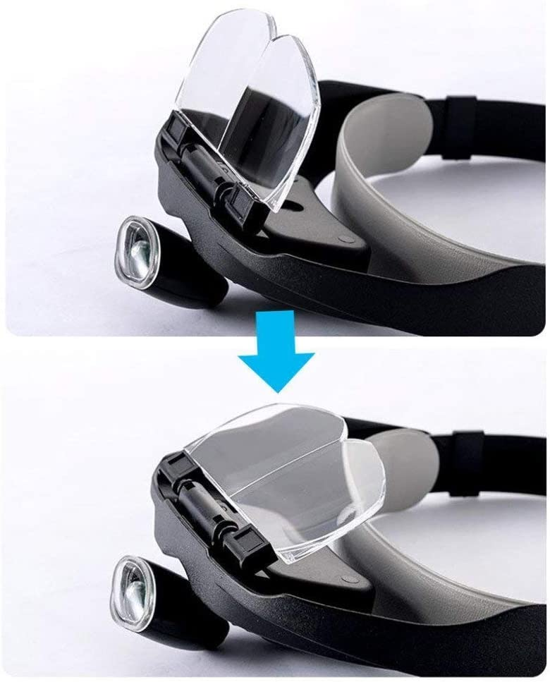 Handheld Magnifier 3.5X Head Mounted Illumination Magnifying Glass with Led Lights Hd Lens for Jewelry Identification Watches DIY Crafts Engraving and Restoration 42 35 19Mm Black Reading Magnifie