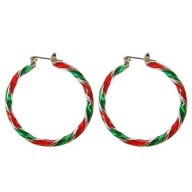 Amazon Com Christmas Wreath Hoop Pierced Earrings For Women Girls