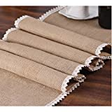"BigNoseDeer Burlap Cream Lace Table Runner 12""x108"" Jute Table Cover for Rustic Country Outdoor Wedding Party Kitchen Décor Farmhouse Decoration"