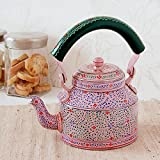 Indian Hand Painted Aluminium Pink Hand Painted Traditional Tea Kettle Pot