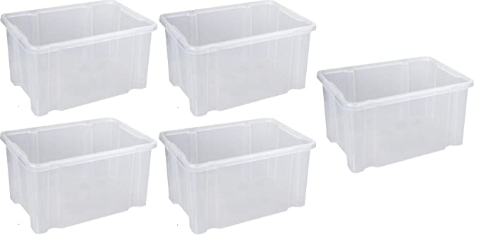 Aufbewahrungsbox Box Lagerbox Mulitbox Kiste Plastikbox Home /& Style 3X 27l Dreh Stapelbox 44 x 35 x 24