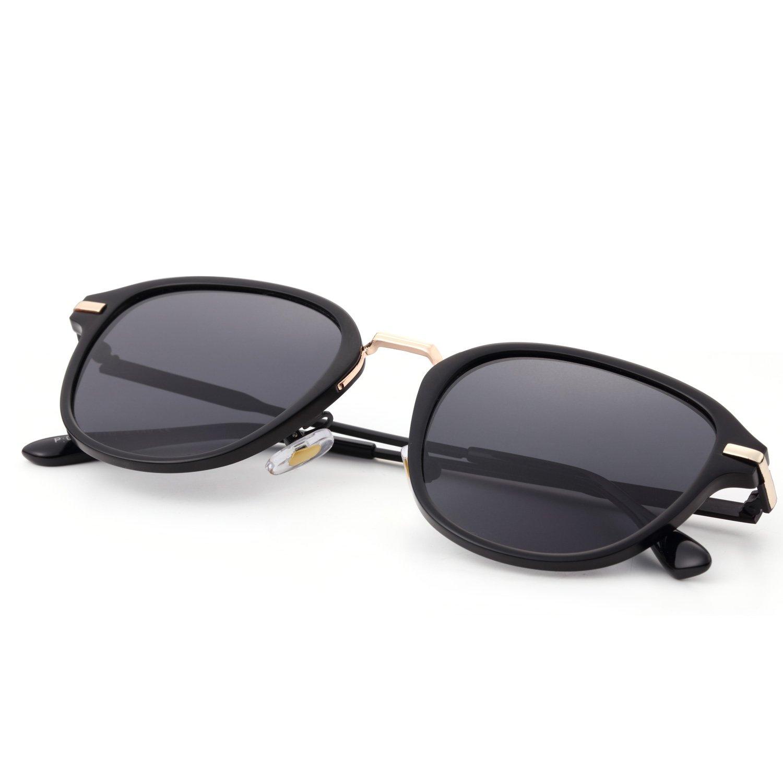 Menton Ezil Vintage Fashion Erika Style Polarized Sunglasses Retro Black Eyewear for Womens Girl Driving Gifts