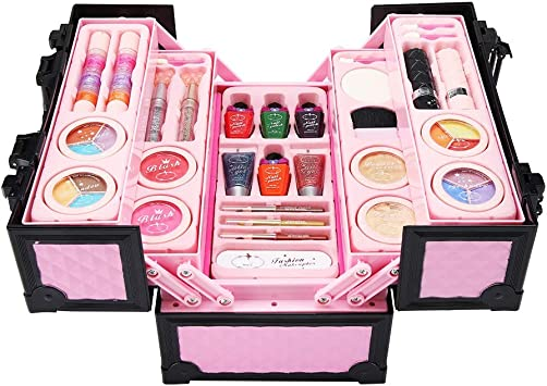 Girl First Makeup Set, Set cosmético compacto Set de maquillaje plegable para niñas Set de juego Princess Cosmetics Kit de maquillaje portátil con mini estuche: Amazon.es: Belleza