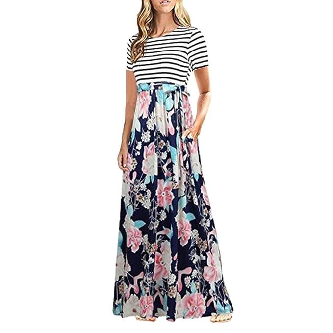 JYC Vestidos Largos, Vestidos Mujer Verano 2018 Mujer Rayado largo Bohemia Vestido,Mujer Verano