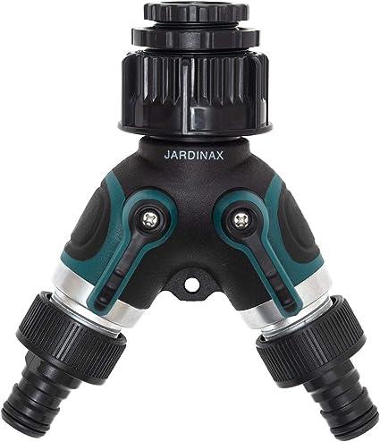 Jardinax Válvula de doble salida para grifo y manguera de jardín, Distribuidor y adaptador de agua y conector 2 vías: Amazon.es: Jardín