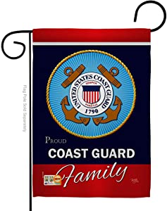"Breeze Decor G158413-BO Coast Guard Proudly Family Americana Military Veteran Decorative Gift Vertical 13"" x 18.5"" Double Sided Garden Flag Made in USA"