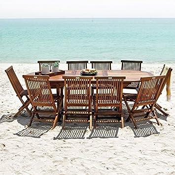 Salon de jardin en bois de Teck Huilé - Table ovale 8/10 personnes + 10  chaises pliantes