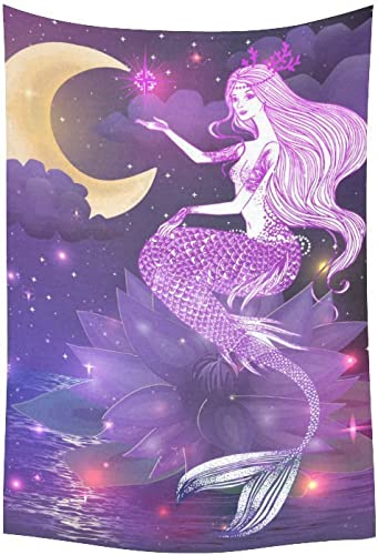 INTERESTPRINT AnnHomeArt Wall Tapestry Hanging Beautiful Mermaid with Lotus Flower Tapestry Picnic Beach Sheet Table Cloth 60 x 40