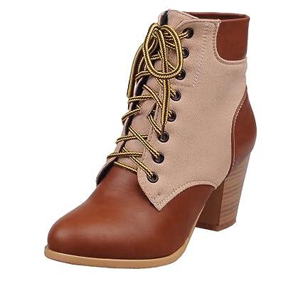 AIYOUMEI Damen Chunky Heel Lace Up Ankle Boots Schnürstiefel mit 7cm Absatz Blockabsatz Gemütlich Klassischer Schnürsenkel Stiefel XdZnh2uB