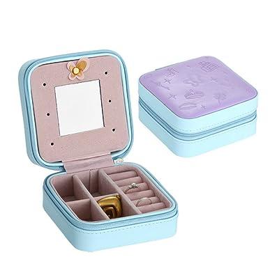 DingXinZM Joyero de Viaje Caja de Embalaje para Exquisito Maquillaje Caja Anillos Pendientes Cosméticos Belleza Organizador