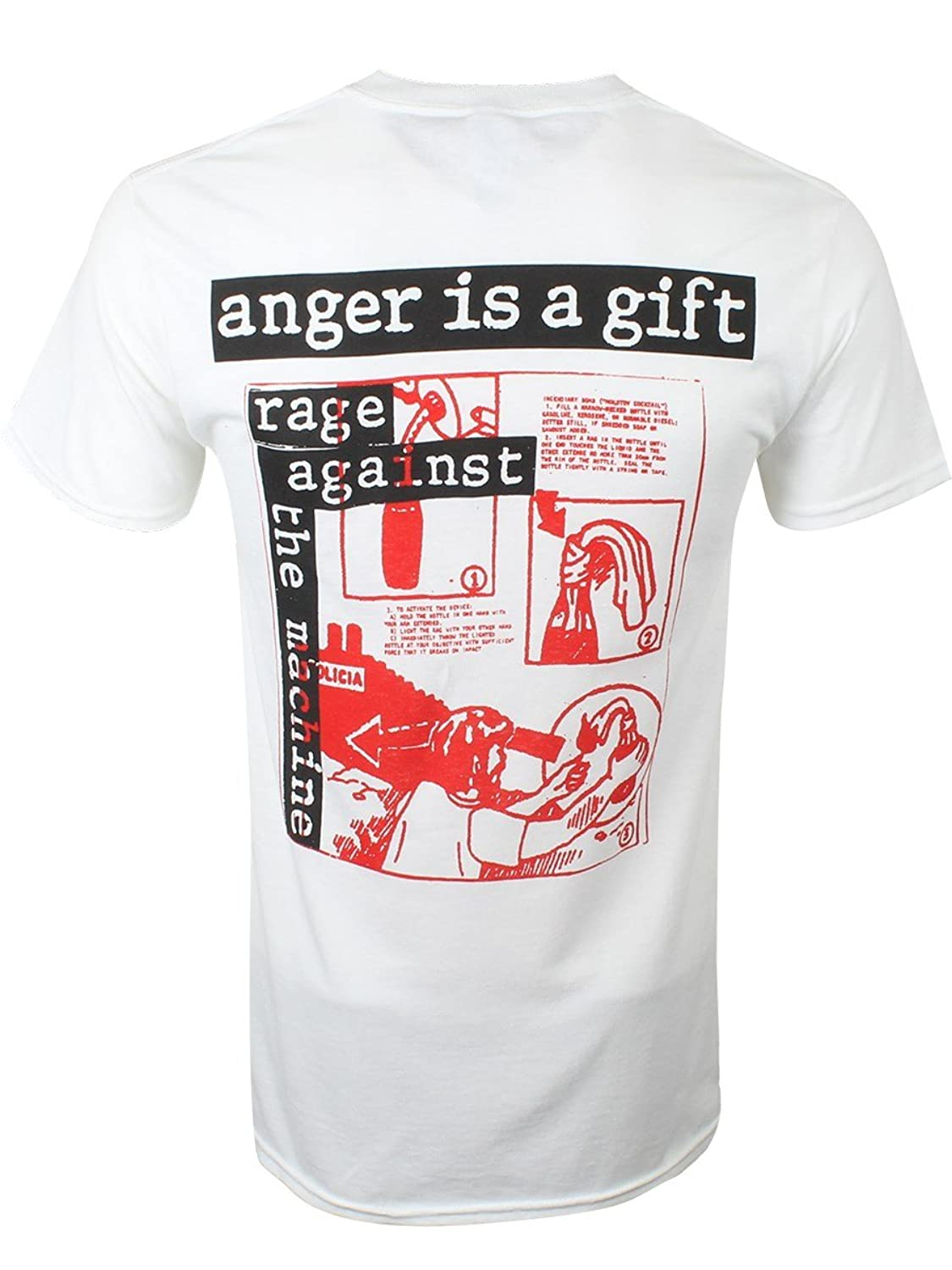 Amazon.com: Rage Against The Machine Men's Anger Is A Gift RATM T-shirt White: Clothing