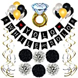 Bachelorette Party Decorations Kit - Black, Gold and Silver by GreenKof | Complete Party Set | 1 Diamond Ring Balloon, 15 Balloons, 8 Swirls, 6 Tissue Paper Pom Pom's | Bridal Shower Banner