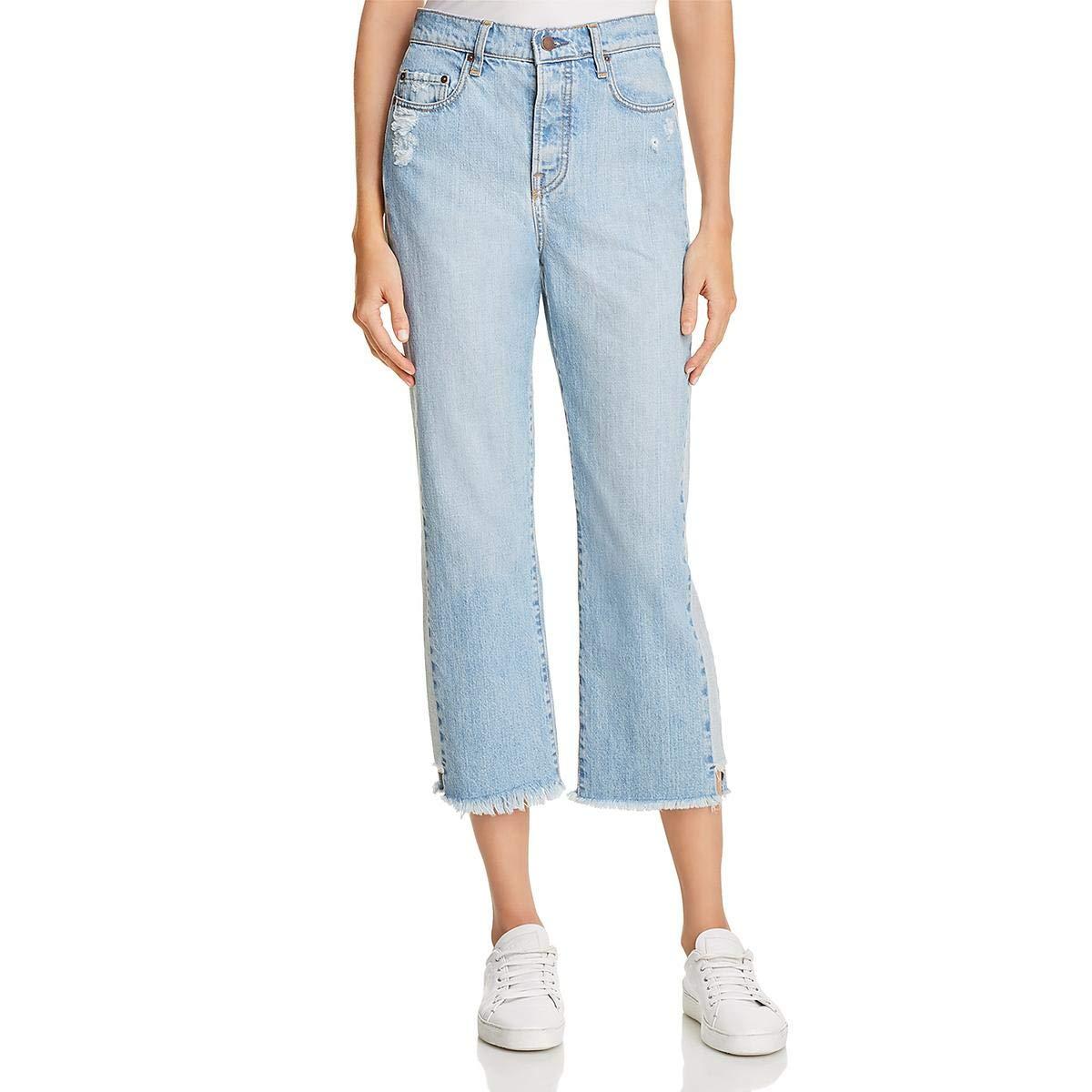 bluee Nobody Womens Straight Tuxedo Ankle Jeans