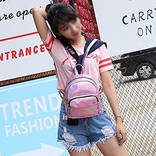 Orfila School Shoulder Leather Mini Laser Women Hologram Backpack Casual Bag Pink Daypack PU Travel Handbags 77wXr