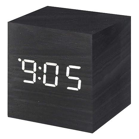 Amazon.com: Vech - Reloj despertador digital de madera con ...