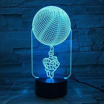 wangZJ Deporte Dedo medio Baloncesto 3D Luz de noche LED USB ...