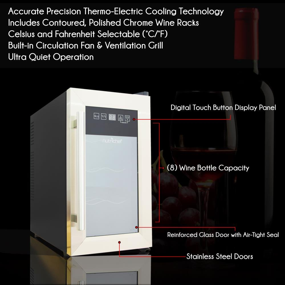 NutriChef 8 Bottle Thermoelectric Wine Cooler / Chiller | Counter Top Red And White Wine Cellar | FreeStanding Refrigerator, Quiet Operation Fridge | Stainless Steel by NutriChef (Image #3)