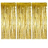 Metallic Gold Silver Foil Fringe Curtain Shiny Tinsel For Party, Birthday, Prom, Photo Booth, Special Event ( 3' x 8' ft) Curtains (3-Pack Gold)