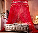 Nattey Princess Lace Bedding Round Mosquito Net Canopy Bites Protect For Twin Queen King Size Canopies (Red)