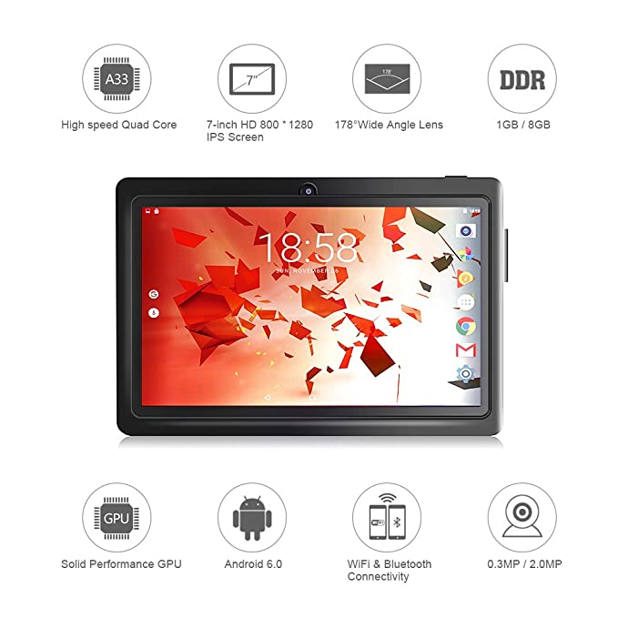 Amazon com : TOPELOTEK 7 Inch Tablet PC 1GB RAM 8GB Storage