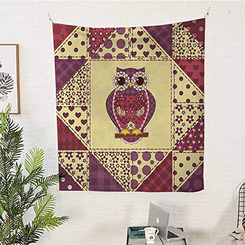 sunsunshine Owl Rectangular Tapestry Vintage-Inspired-Owl-Pattern-Invisible-to-Prey-Nocturnal-Mimicking-Predator Tapestry Throwing Blanket 40W x 60L INCHPurple-Pink-Yellow