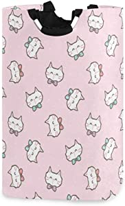 Toprint Kawaii Kitty Cat Large Laundry Basket Hamper Fabric Toy Storage Bin with Handles for Kids Gift Basket Waterproof Dirty Clothes Bag Nursery Bedroom, Collapsible Home Organizer