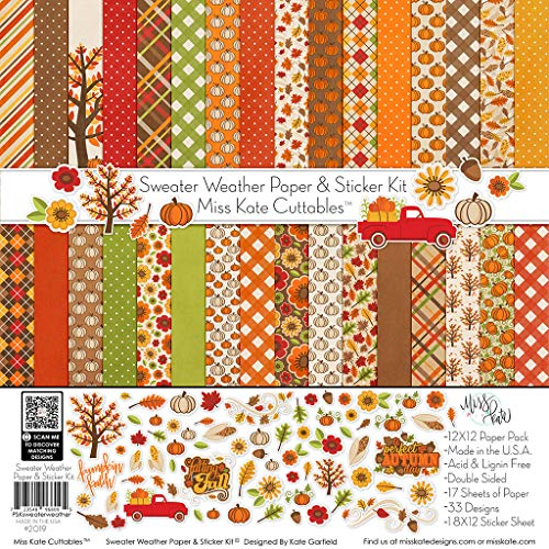 Fall Scrapbook Paper (Paper & Sticker Kit - Sweater Weather - 17 Double-Sided 12x12 Papers with 33 Designs & 1 8X12 Sticker Sheet - Scrapbooking Card Making Crafting - by Miss Kate)