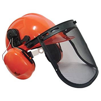 b2c2ab6a09e Chainsaw   Brushcutter Safety Helmet c w Chin Strap Pro  Amazon.co ...