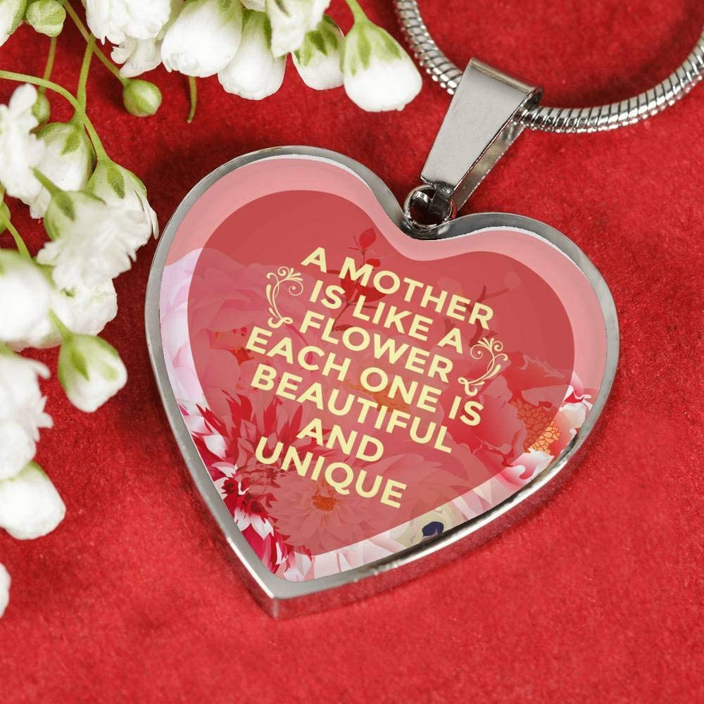 Express Your Love Gifts A Mother is Like A Flower Necklace Stainless Steel or 18k Gold Heart Pendant 18 22