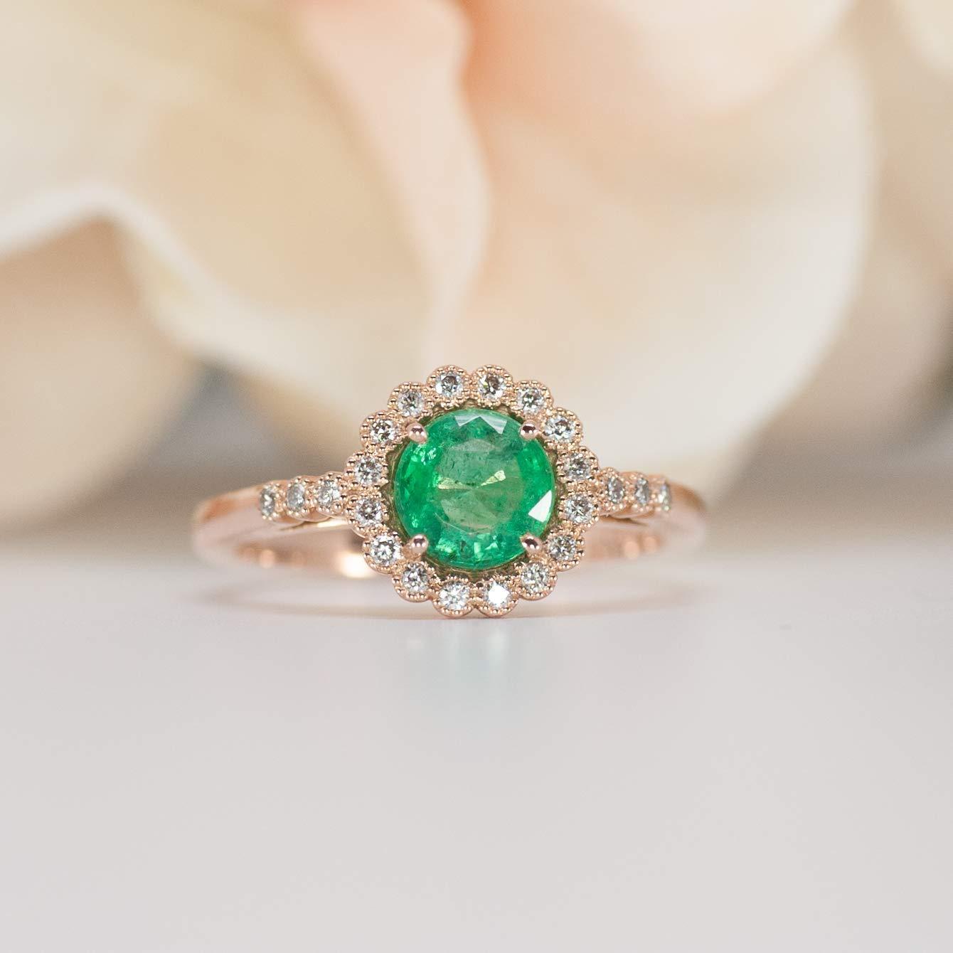 Amazon.com Rose Gold Emerald Diamond Engagement Ring