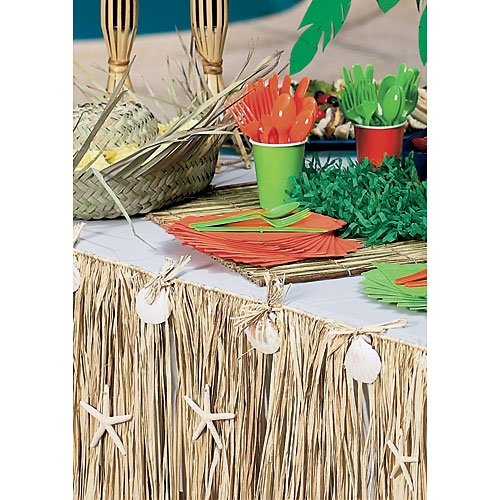 Raffia and Seashell Table Skirt (29 inch wide x 108 inch long) -