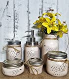 6 Piece Mason Jar Bathroom Organization Set, Painted Mason Jar Set, Mason Jars Soap Dispenser, Bathroom Accessories, Available in 20 Colors