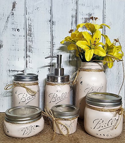 6 Piece Mason Jar Bathroom Organization Set, Painted Mason Jar Set, Mason Jars Soap Dispenser, Bathroom Accessories, Available in 20 Colors by Renewed Decor & Storage