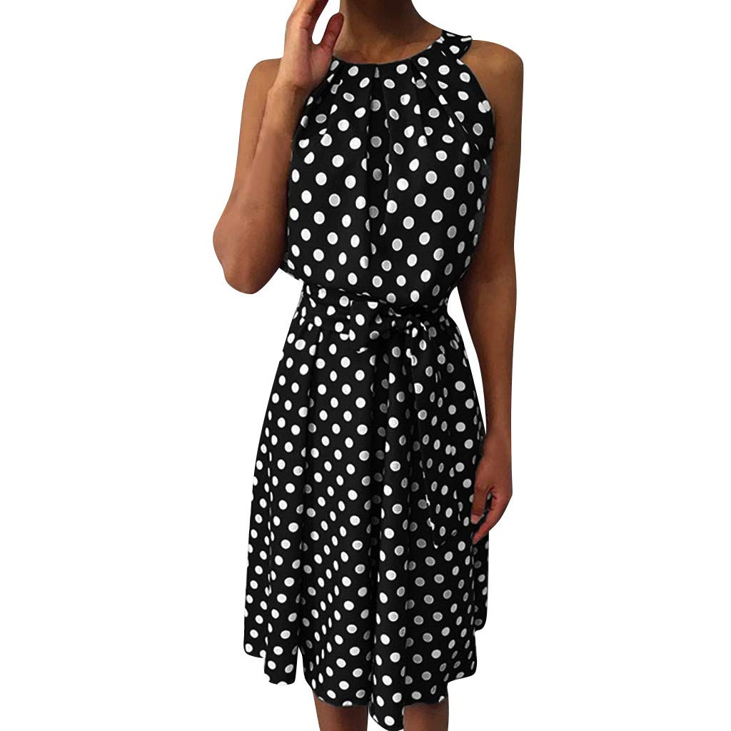 Womens A-Line Mini Skirts Fashion Polka Dot Sleeveless Dresses Off Shoulder Casual Loose Dress with Belt (L2, Red)