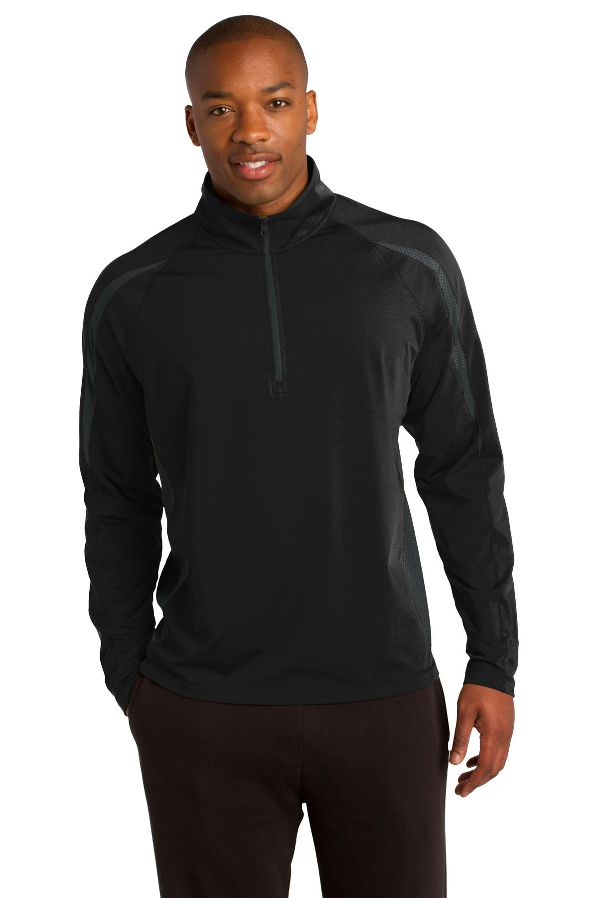 Sport-Tek Men's Sport Wick Stretch 1/2 Zip Colorblock L Black/Charcoal Grey by Sport-Tek