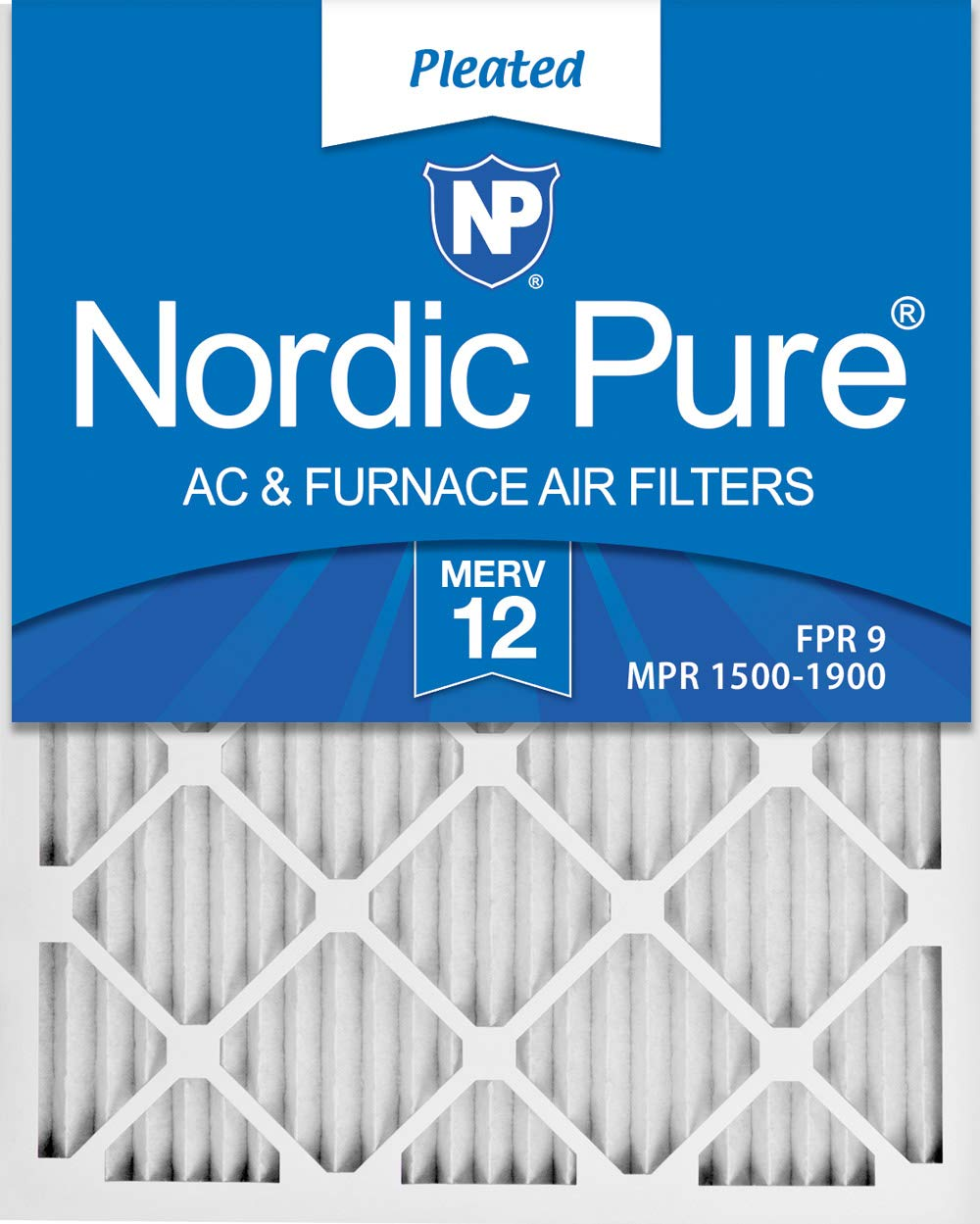 Nordic Pure 20x22x1 Exact MERV 12 Pleated AC Furnace Air Filters 2 Pack