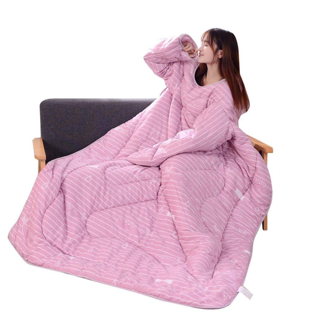Winter Warm Lazy Quilt, Winter Comfortable Lazy Quilt with Sleeves Thickened Thermal Quilt Cute That Can Be Worn Quilts (C)