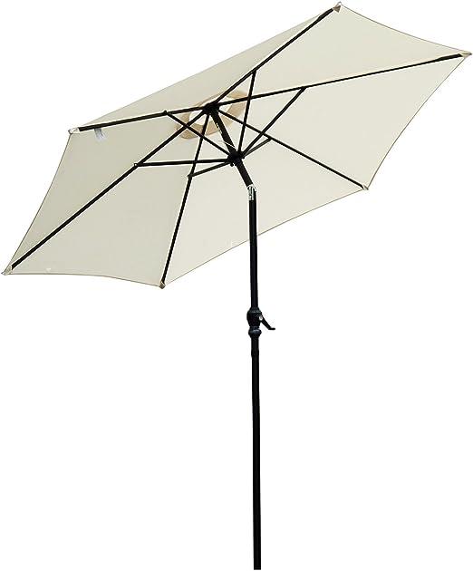 Outsunny Sombrilla Parasol para Jardín Patio Terraza Playa Piscina ...