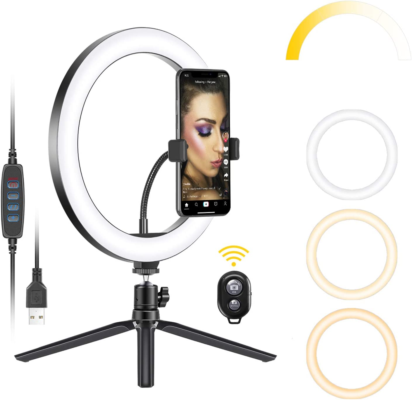 XYSQWZ Led Ring Light with Stand 10 Inch LED Ring Light with Stand Streamer and Hose Can Be Used for YouTube Video Shooting Makeup Smartphone and Camera