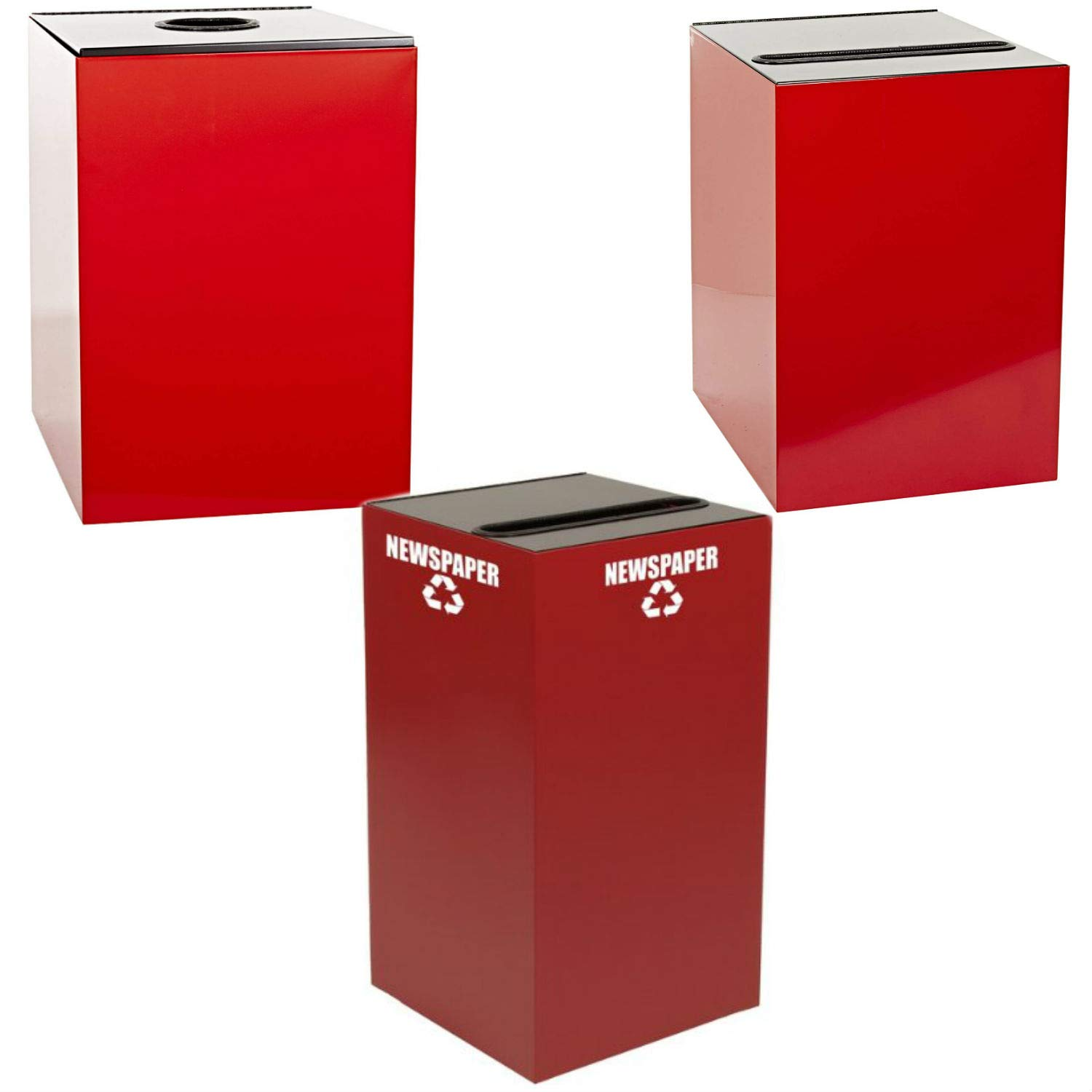 Witt Industries Steel 28-Gallon Geo Cube Recycling Container, Round Opening, Legend Cans, Slot Opening, Legend Newspaper and Square Opening, Legend Waste Square