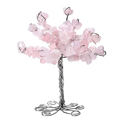 Office table feng shui Simple Image Unavailable Doragoram Amazoncom Qgem Rose Quartz Crystal Tumbled Stone Money Tree Gift