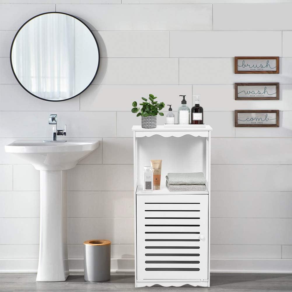 bianco Greensen Armadietto da bagno in legno da terra