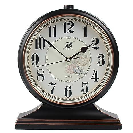 Relojes de mesa Reloj Retro Negro Reloj de Pulsera silencioso Reloj de Escritorio Retro Movimiento de